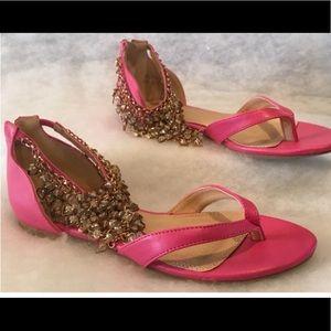 Hot Pink Gold Crystal Dangle Mini Heel Sandals